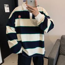 Pullovers Stripes Street Style Long Sleeves Cotton Oversized