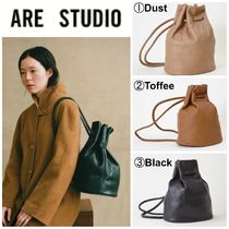 ARE STUDIO Casual Style Plain Leather Backpacks