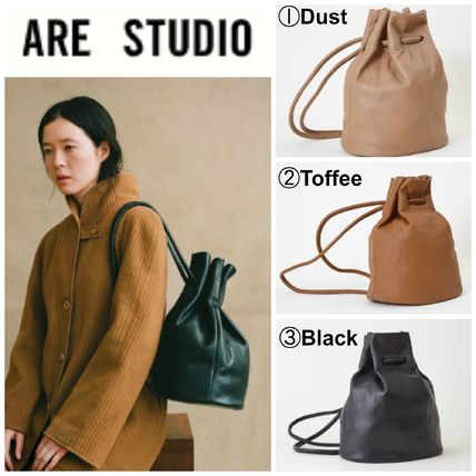 Casual Style Plain Leather Backpacks