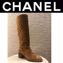 CHANEL MATELASSE Plain Toe Casual Style Suede Blended Fabrics Street Style