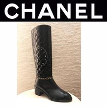 CHANEL MATELASSE Plain Toe Casual Style Blended Fabrics Street Style Chain
