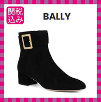 BALLY Suede Plain Leather Block Heels Ankle & Booties Boots