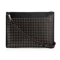 Christian Louboutin Unisex Studded 2WAY Plain Leather Logo Clutches