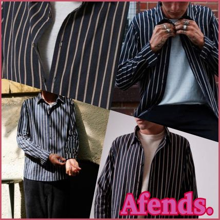 AFENDS Shirts Button-down Stripes Street Style Long Sleeves Cotton Shirts