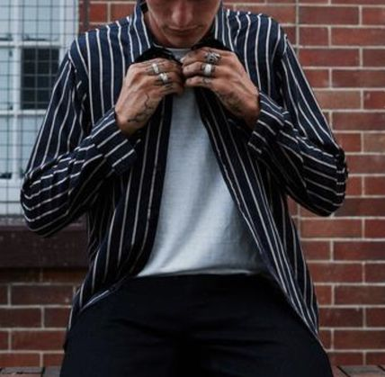 AFENDS Shirts Button-down Stripes Street Style Long Sleeves Cotton Shirts 3