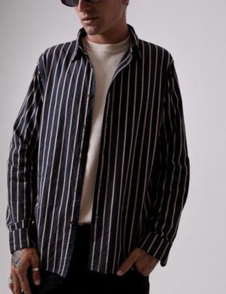 AFENDS Shirts Button-down Stripes Street Style Long Sleeves Cotton Shirts 4