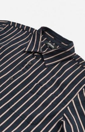 AFENDS Shirts Button-down Stripes Street Style Long Sleeves Cotton Shirts 6