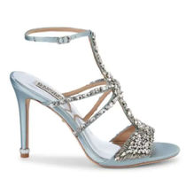 Badgley Mischka Open Toe Plain Pin Heels With Jewels Elegant Style