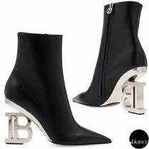 BALMAIN Plain Leather Block Heels Elegant Style