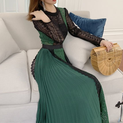 Long Sleeves Long High-Neck Lace Dresses