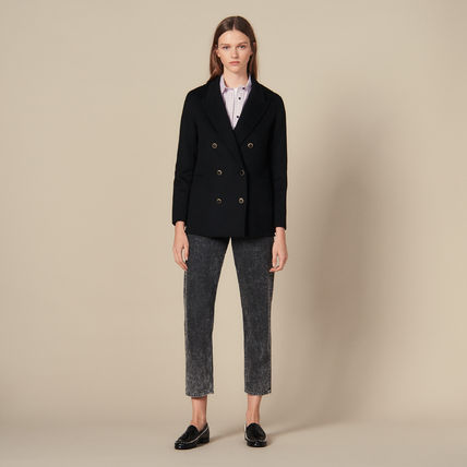 Short Wool Plain Coats