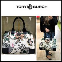 Tory Burch ELLA TOTE Flower Patterns Nylon A4 Totes