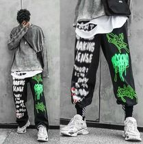 Tapered Pants Printed Pants Denim Street Style Oversized