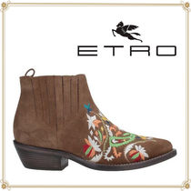 ETRO Suede Plain Elegant Style Ankle & Booties Boots