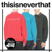 thisisneverthat Unisex Street Style Long Sleeves Plain Cotton Oversized