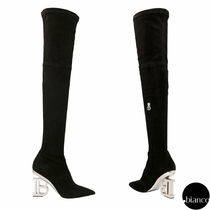 BALMAIN Suede Plain Block Heels Elegant Style Over-the-Knee Boots