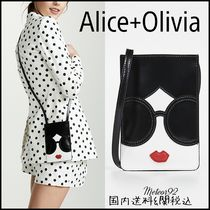 Alice+Olivia Casual Style Plain Leather Logo Shoulder Bags