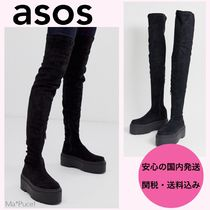 ASOS Round Toe Suede Plain Over-the-Knee Boots