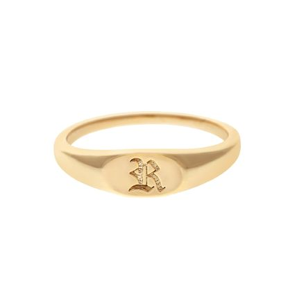 Casual Style Initial 14K Gold Rings