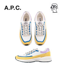 A.P.C. Blended Fabrics Street Style Collaboration Leather Sneakers