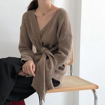 Cable Knit Casual Style Rib Tassel Dolman Sleeves