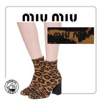 MiuMiu Leopard Patterns Plain Toe Casual Style Leather Chunky Heels
