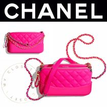 CHANEL MATELASSE Chain Plain Leather Handmade Party Style Elegant Style