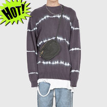 Raucohouse Crew Neck Pullovers Unisex Street Style Tie-dye Long Sleeves