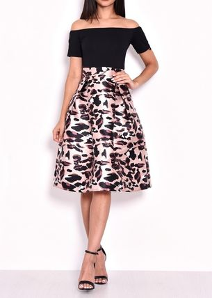 Leopard Patterns A-line Flared Medium Party Style