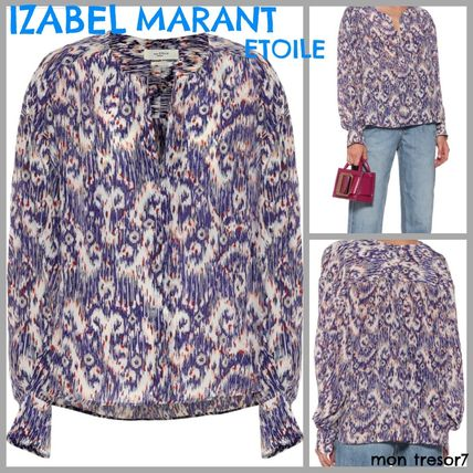 Short Paisley Casual Style Silk Long Sleeves Cropped