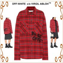 Off-White Other Check Patterns Casual Style Street Style Cotton Long
