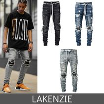 LAKENZIE Tapered Pants Denim Street Style Plain Jeans & Denim