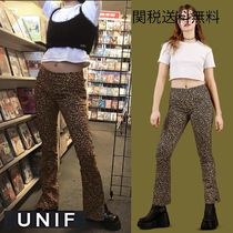 UNIF Clothing Leopard Patterns Casual Style Cotton Long Skinny Pants