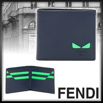 FENDI Street Style Plain Leather Folding Wallets