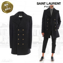 Saint Laurent Casual Style Wool Plain Medium Elegant Style Peacoats