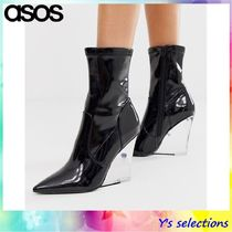 ASOS Casual Style Faux Fur Street Style Plain Wedge Boots