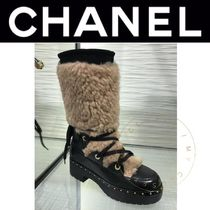 CHANEL ICON Plain Toe Mountain Boots Lace-up Casual Style Sheepskin