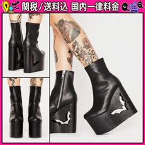 DOLLS KILL Round Toe Casual Style Faux Fur Plain Wedge Boots