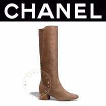 CHANEL ICON Plain Toe Casual Style Street Style Plain Block Heels
