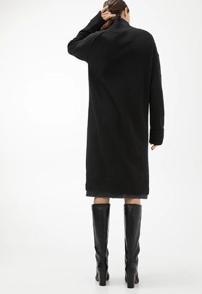 Casual Style Wool Long Sleeves Plain Dresses