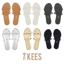 TKEES GEMMA Open Toe Rubber Sole Casual Style Suede Plain Flip Flops