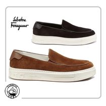 Salvatore Ferragamo Suede Street Style Plain Leather Loafers & Slip-ons