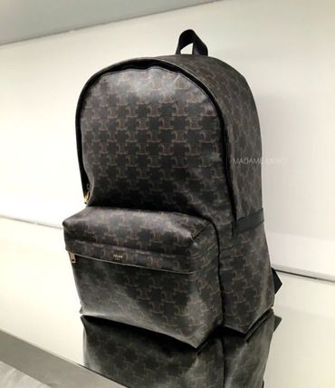 CELINE Triomphe Canvas Medium Backpack In Triomphe Canvas And Calfskin