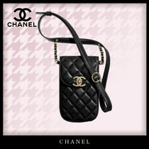 CHANEL MATELASSE Casual Style Chain Plain Leather Party Style Clutches