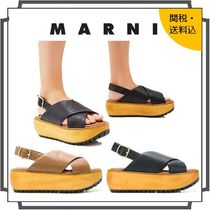 MARNI Open Toe Platform Rubber Sole Casual Style Blended Fabrics