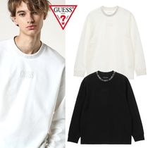 Guess Long Sleeves Plain Cotton Long Sleeve T-Shirts