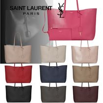Saint Laurent Casual Style Calfskin A4 Office Style Elegant Style Totes