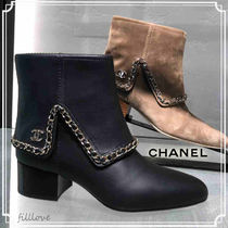 CHANEL Chain Plain Leather Block Heels Ankle & Booties Boots