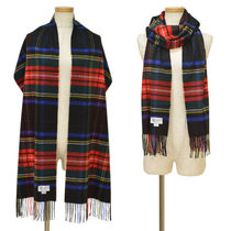 Johnstons WA57 Tartan Cashmere Fringes Knit & Fur Scarves