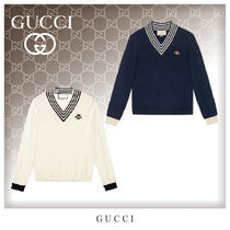 GUCCI Unisex Wool V-Neck Long Sleeves Knits & Sweaters